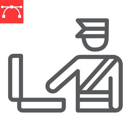 Customs inspection line icon Ilustración de vector