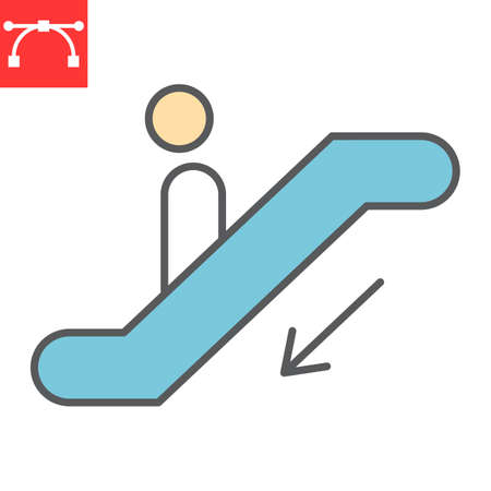 Escalator down color line icon