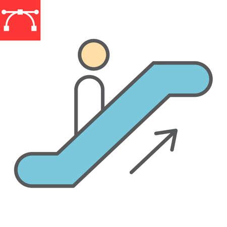 Escalator up color line icon