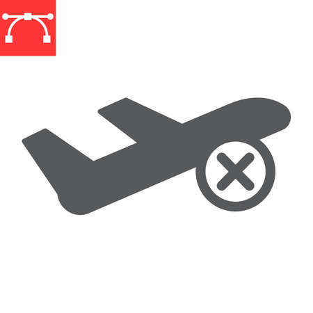 Flight cancelled glyph icon 向量圖像