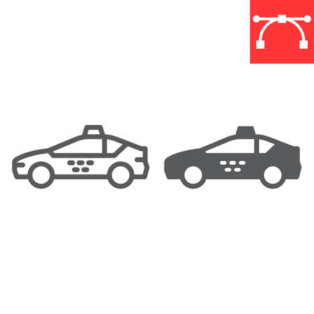 Taxi car line and glyph icon