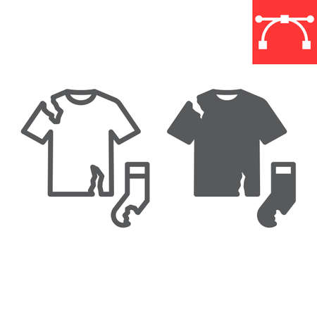 Textile waste line and glyph icon, recycle and torn t-shirt, torn sock vector icon, vector graphics, editable stroke outline sign