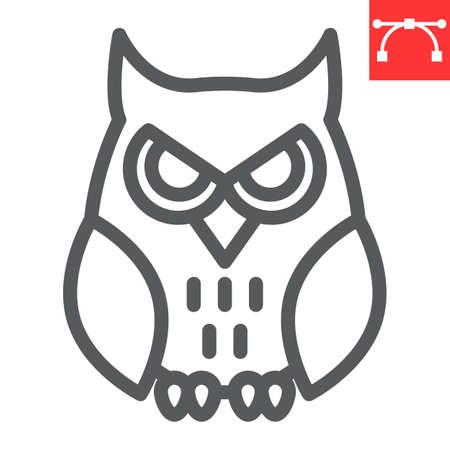 Owl line icon, bird and halloween, owl vector icon, vector graphics, editable stroke outline sign Иллюстрация