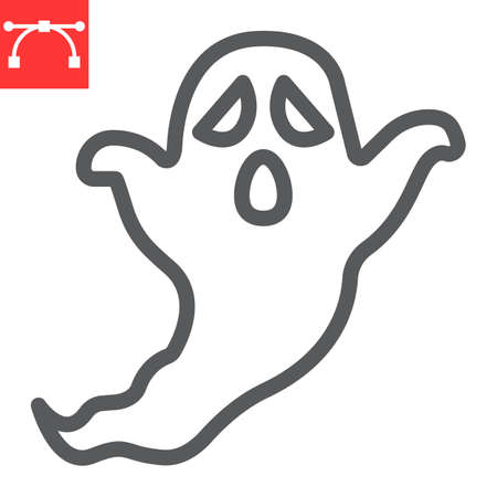 Ghost line icon, holiday and halloween, ghost vector icon, vector graphics, editable stroke outline sign