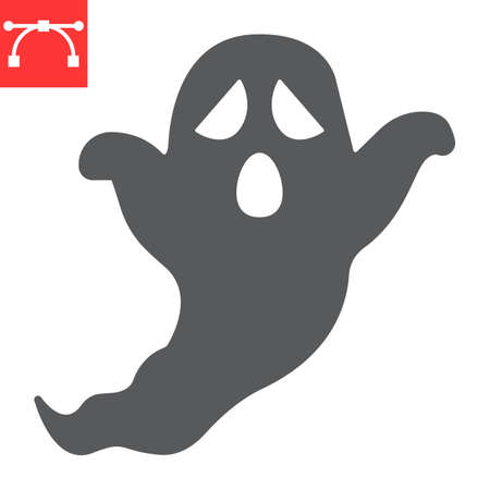 Ghost glyph icon, holiday and halloween, ghost vector icon, vector graphics, editable stroke solid sign