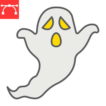 Ghost color line icon, holiday and halloween, ghost vector icon, vector graphics, editable stroke filled outline sign