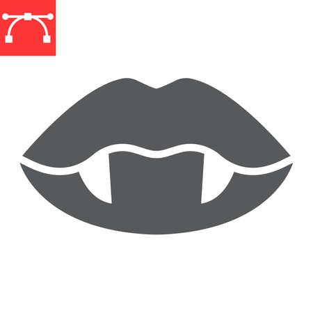 Vampire lips glyph icon, holiday and halloween, vampire teeth vector icon, vector graphics, editable stroke solid sign Illustration
