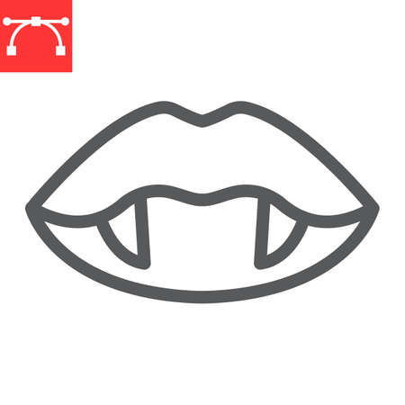 Vampire lips line icon, holiday and halloween, vampire teeth vector icon, vector graphics, editable stroke outline sign