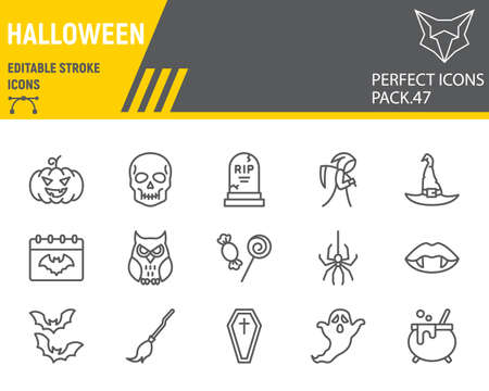 Halloween line icon set, horror collection, vector graphics, logo illustrations, happy halloween day vector icons, scary signs, outline pictograms, editable stroke
