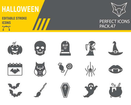 Halloween glyph icon set, horror collection, vector graphics, logo illustrations, happy halloween day vector icons, scary signs, solid pictograms, editable stroke
