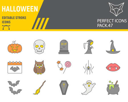 Halloween color line icon set, horror collection, vector graphics, logo illustrations, happy halloween day vector icons, scary signs, filled outline pictograms, editable stroke