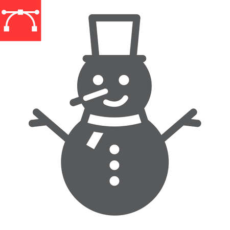 Snowman glyph icon, holiday and christmas, snowman vector icon, vector graphics, editable stroke solid sign, eps 10. Illustration