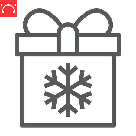 Christmas gift box line icon, holiday and christmas, present vector icon, vector graphics, editable stroke outline sign, eps 10. Illustration