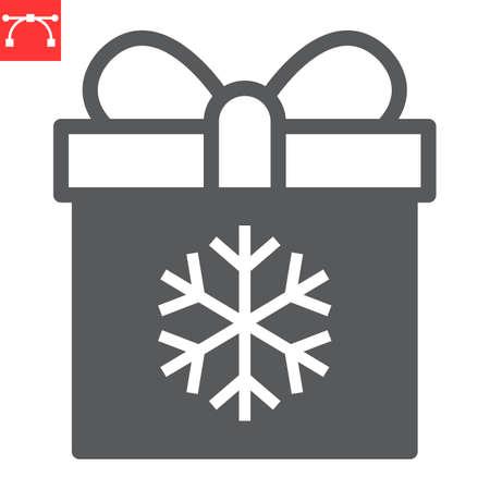 Christmas gift box glyph icon, holiday and christmas, present vector icon, vector graphics, editable stroke solid sign, eps 10.