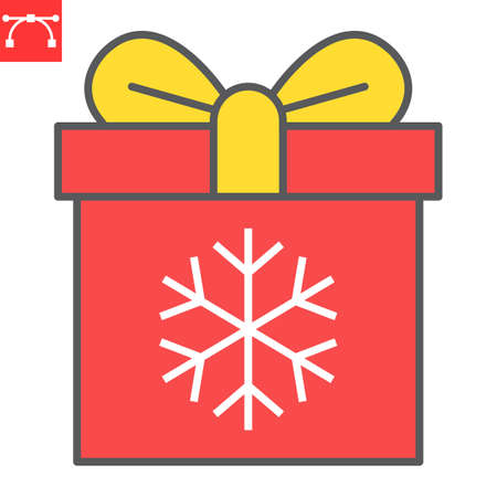 Christmas gift box color line icon, holiday and christmas, present vector icon, vector graphics, editable stroke filled outline sign, eps 10. Illustration