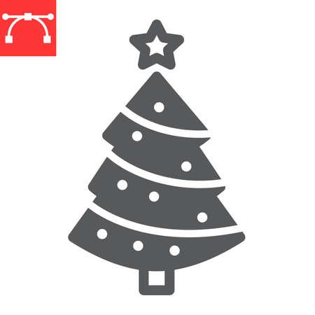 Christmas tree glyph icon, holiday and christmas, fir tree vector icon, vector graphics, editable stroke solid sign, eps 10.