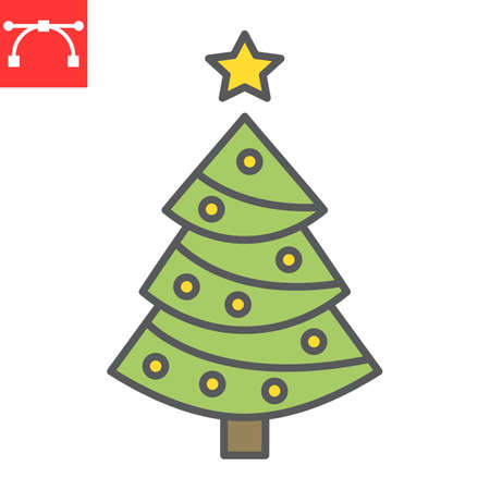 Christmas tree color line icon, holiday and christmas, fir tree vector icon, vector graphics, editable stroke filled outline sign, eps 10.