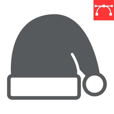 Santa hat glyph icon, holiday and christmas, santa hat vector icon, vector graphics, editable stroke solid sign, eps 10.