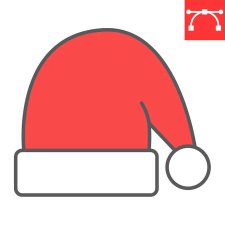 Santa hat color line icon, holiday and christmas, santa hat vector icon, vector graphics, editable stroke filled outline sign, eps 10.