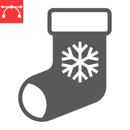 Christmas stocking glyph icon, holiday and snowflake, christmas sock vector icon, vector graphics, editable stroke solid sign, eps 10.