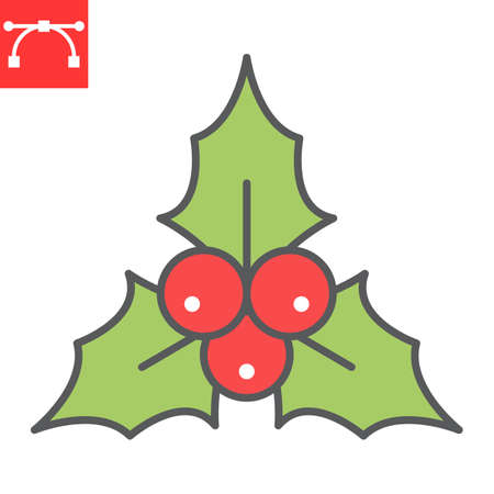 Christmas holly berry color line icon, holiday and xmas, christmas holly berries vector icon, vector graphics, editable stroke filled outline sign, eps 10. Illustration