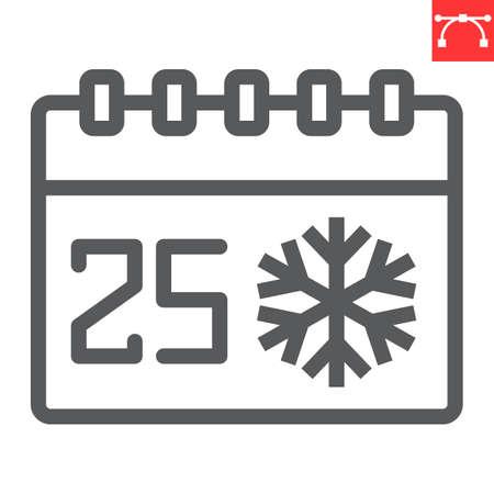 Christmas calendar line icon, holiday and christmas, 25th december calendar vector icon, vector graphics, editable stroke outline sign, eps 10. Illustration