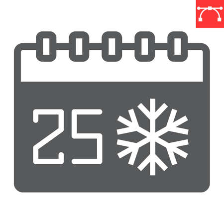 Christmas calendar glyph icon, holiday and christmas, 25th december calendar vector icon, vector graphics, editable stroke solid sign, eps 10.