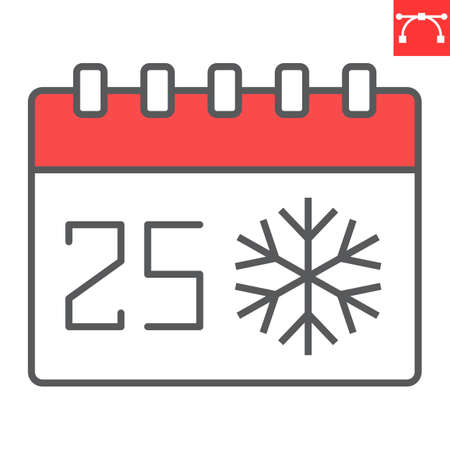 Christmas calendar color line icon, holiday and christmas, 25th december calendar vector icon, vector graphics, editable stroke filled outline sign, eps 10. Illustration