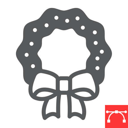 Christmas wreath glyph icon, holiday and xmas, christmas wreath vector icon, vector graphics, editable stroke solid sign, eps 10. Illustration
