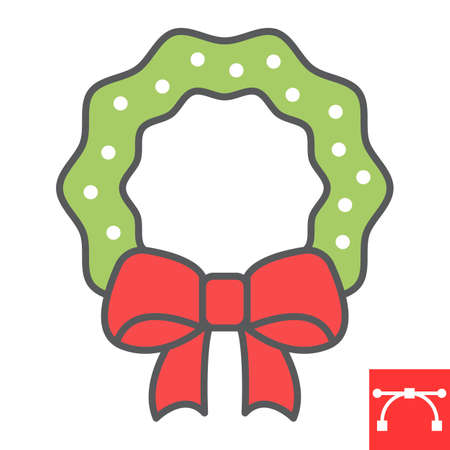 Christmas wreath color line icon, holiday and xmas, christmas wreath vector icon, vector graphics, editable stroke filled outline sign, eps 10. Illustration