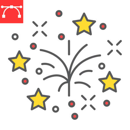 Fireworks color line icon, holiday and xmas, firework vector icon, vector graphics, editable stroke filled outline sign, eps 10. Illustration