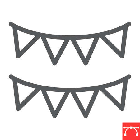 Paper garlands line icon, holiday and bunting flags, garland vector icon, vector graphics, editable stroke outline sign, eps 10.