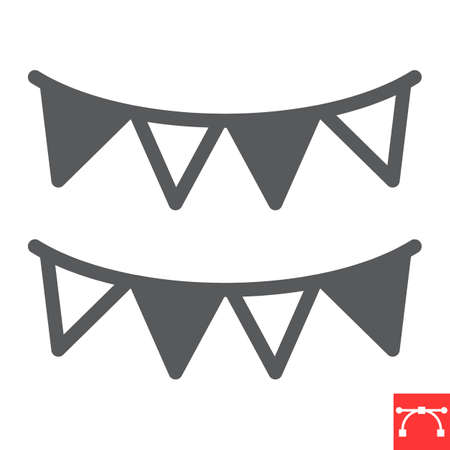 Paper garlands glyph icon, holiday and bunting flags, garland vector icon, vector graphics, editable stroke solid sign, eps 10.