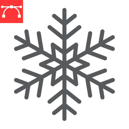 Snowflake line icon, winter and ice, snowflake vector icon, vector graphics, editable stroke outline sign, eps 10. Illustration