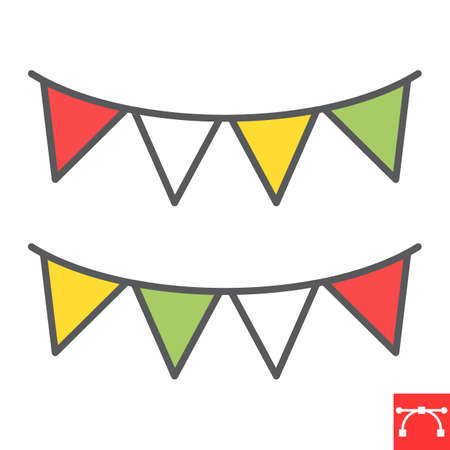 Paper garlands color line icon, holiday and bunting flags, garland vector icon, vector graphics, editable stroke filled outline sign, eps 10.