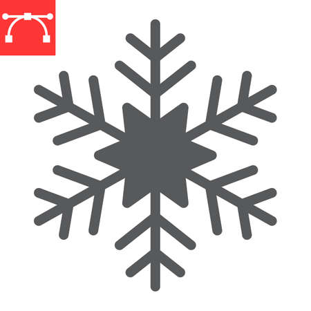 Snowflake glyph icon, winter and ice, snowflake vector icon, vector graphics, editable stroke solid sign, eps 10.