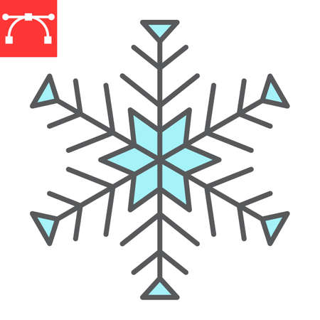 Snowflake color line icon, winter and ice, snowflake vector icon, vector graphics, editable stroke filled outline sign, eps 10.