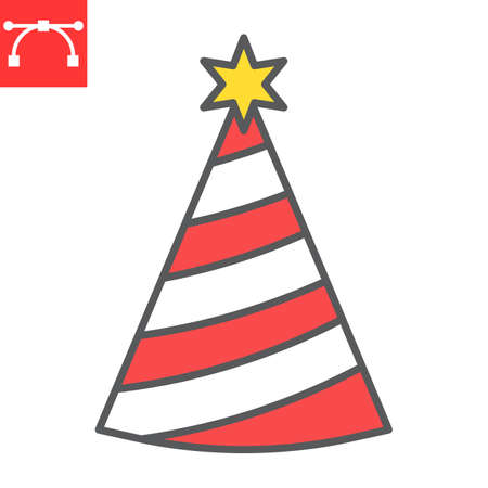 Party hat color line icon, holiday and birthday, party hat vector icon, vector graphics, editable stroke filled outline sign, eps 10. Illustration