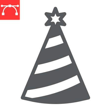 Party hat glyph icon, holiday and birthday, party hat vector icon, vector graphics, editable stroke solid sign, eps 10.