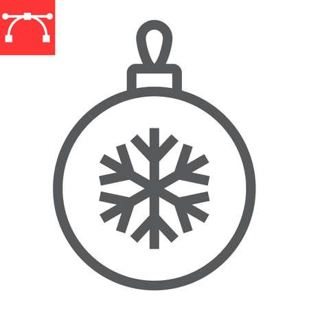 Christmas tree ball line icon, holiday and bauble, christmas ball vector icon, vector graphics, editable stroke outline sign, eps 10. Illustration
