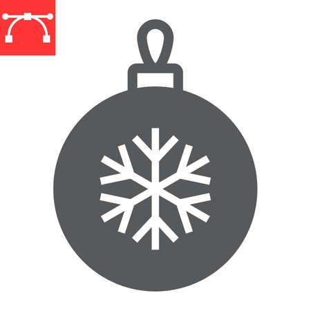 Christmas tree ball glyph icon, holiday and bauble, christmas ball vector icon, vector graphics, editable stroke solid sign, eps 10.