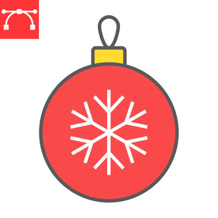 Christmas tree ball color line icon, holiday and bauble, christmas ball vector icon, vector graphics, editable stroke filled outline sign, eps 10.