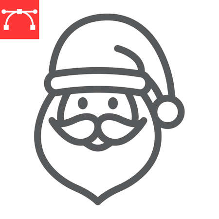 Santa Claus line icon, holiday and christmas, santa claus vector icon, vector graphics, editable stroke outline sign, eps 10.