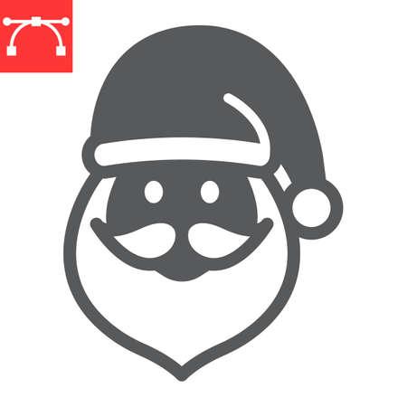 Santa Claus glyph icon, holiday and christmas, santa claus vector icon, vector graphics, editable stroke solid sign, eps 10.