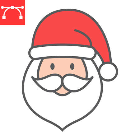 Santa Claus color line icon, holiday and christmas, santa claus vector icon, vector graphics, editable stroke filled outline sign, eps 10. Illustration