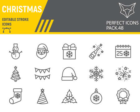 Christmas line icon set, holiday collection, vector graphics, logo illustrations, merry christmas vector icons, new year signs, outline pictograms, editable stroke