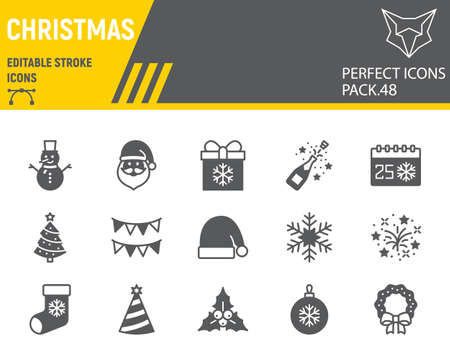 Christmas glyph icon set, holiday collection, vector graphics, logo illustrations, merry christmas vector icons, new year signs, solid pictograms, editable stroke
