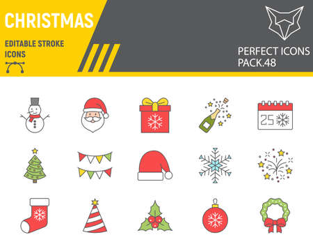 Christmas color line icon set, holiday collection, vector graphics, logo illustrations, merry christmas vector icons, new year signs, filled outline pictograms, editable stroke