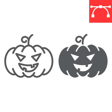 Halloween pumpkin line and glyph icon, holiday and halloween, pumpkin vector icon, vector graphics, editable stroke outline sign,