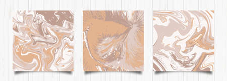 Set of trendy backgrounds in pastel colors for social networks Hand drawn style Brown shades Suitable as a design for postcards, flyers, leaflets, web banners Ilustração